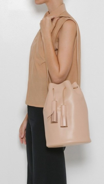 Building Block ~ Nude Bucket Bag in smooth leather – luxe shoulder bags – stylish handbags – drawstring with tassels - flipped