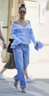 Rihanna rockin this blue off the shoulder top & jeans