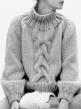 Chunky cable knit jumper with turtle neck
