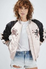 Topshop Contrast Embroidered Bomber Jacket pale pink. Casual luxe | crinkle effect jackets | autumn 2016 outerwear | on trend fashion