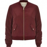 River Island Womens Dark red nylon bomber jacket. Casual autumn jackets | on trend outerwear | autumnal colours | fashion trending now