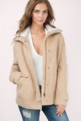 TOBI Deep Canyon camel shearling wool jacket. Womens autumn jackets | on trend outerwear | casual fashion | relaxed fit | neutral tone | neutrals
