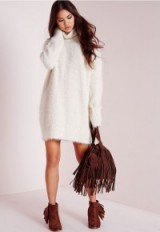 Missguided off white fluffy roll neck jumper dress