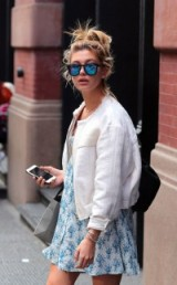 Model Hailey Baldwin…white bomber jacket and blue floral mini dress. Celebrity street style | star style jackets | models off duty | outfits