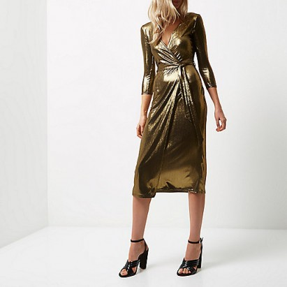 River Island Gold Plunge Wrap Dress Metallic Party Dresses Going Out Fashion Glam