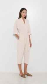 Jesse Kamm The Kimono Jumpsuit in ecru. Oriental look jumpsuits | belted | self tie | Japanese style fashion | cropped leg