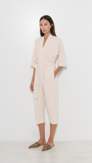 Jesse Kamm The Kimono Jumpsuit in ecru. Oriental look jumpsuits | belted | self tie | Japanese style fashion | cropped leg - flipped