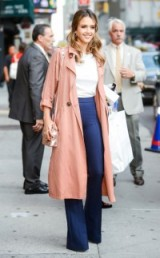 Jessica Alba in pink trench