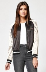 Kendall & Kylie Kendall & Kylie Two-Tone Satin Bomber Jacket. On-trend jackets | fashion trending now | casual weekend clothing | silky style fabric