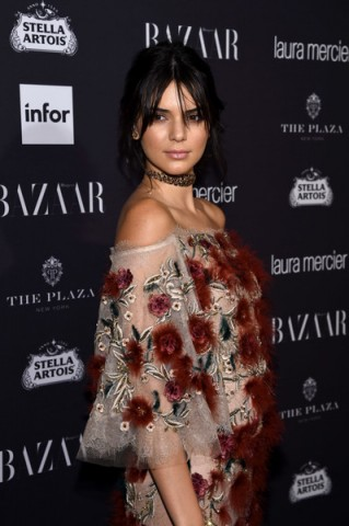 """Kendall Jenner at Carine Roitfeld's the """"Harper's Bazaar"""" Icons party during NYFW, dressed in Marchesa."""