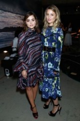 Jenna Coleman and Dianna Agron attend the Erdem show Spring/Summer 2017 at London Fashion Week. LFW celebrity outfits | front row celebrities | floral printed dresses