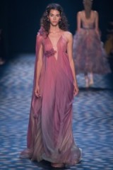 Marchesa Ready to Wear Spring/Summer 2017 at NYFW ~ models working ~ catwalk fashion ~ flowing draped gowns ~ pink ombre ~ floaty ~ plunge front fashion ~ luxury long dresses