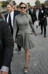 Marion Cotillard's effortless chic style at Dior PFW 2008 – stylish French women – celebrity fashion – inspirational outfits – grey fit and flare dresses