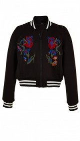 Tibi MARISOL EMBROIDERED BOMBER BLACK. Casual jackets | on-trend outerwear | sports luxe fashion | floral embroidery