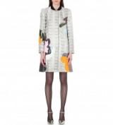 MARY KATRANTZOU A-line silver metallic-brocade coat – luxe designer coats – printed fashion – luxury outerwear