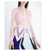 MARY KATRANTZOU Ortensia Ruffle-collar tulle shirt – sheer ruffled shirts – luxe frill collar blouses – see through fabric – transparent fashion