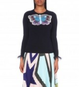 MARY KATRANTZOU Tuco cashmere jumper – designer knitwear – butterfly applique jumpers – luxury sweaters – long sleeves with frilled tulle trim – knitted fashion – round neck – crew style neckline