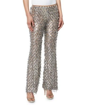 Michael Kors Collection Dangling Metallic Flare-Leg Pants in Silver ~ metallics ~ designer trousers ~ embellished flares - flipped