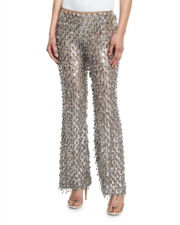 Michael Kors Collection Dangling Metallic Flare-Leg Pants in Silver ~ metallics ~ designer trousers ~ embellished flares