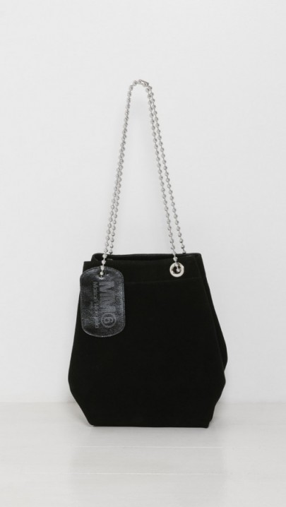 MM6 Maison Margiela Black Suede Chain Shoulder Bag – luxe designer bags – stylish handbags