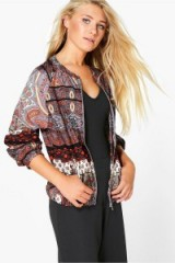 boohoo Natalia multi printed collarless bomber jacket. Lightweight casual jackets | on trend outerwear | autumn colours | mixed prints | affordable fashion