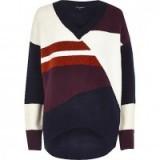 River Island navy colour block oversized knit jumper. Womens knitwear | asymmetric hemline | high low hem | long sleeved jumpers | on trend V neck sweaters | autumn/winter fashion