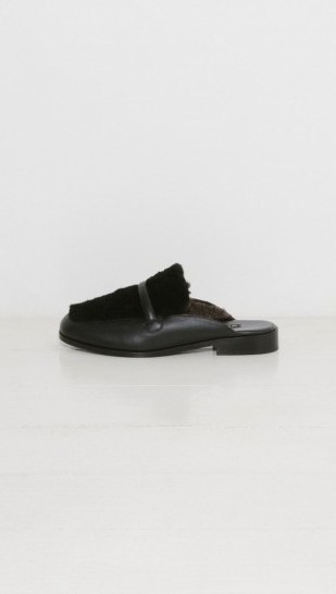 NewbarK Melanie Mule Shearling black. Open back fur loafers | designer low heeled mules | casual luxe footwear | autumn chic | fluffy shoes | furry accessories - flipped