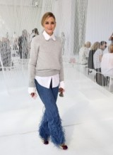 Olivia Palermo's casual chic look at NYFW wearing Michael Kors Collection feather flared ankle jeans from michaelkors.com & bergdorfgoodman.com
