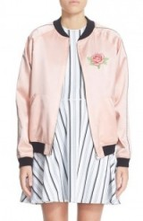 Opening Ceremony Reversible Embroidered Silk Bomber Jacket pink. Silky jackets | autumn 2016 fashion | on trend outerwear