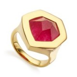 MONICA VINADER ~ PETRA COCKTAIL RING 18ct Gold Plated Vermeil on Sterling Silver set with a pink quartz gemstone. Modern style jewellery | contemporary rings | gemstones | luxe style accessories