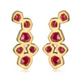 MONICA VINADER ~ PETRA COCKTAIL EARRINGS 18ct Gold Plated Vermeil on Sterling Silver set with pink quartz gemstones. Womens modern style jewelry | statement jewellery | gemstone drop earrings | luxe style accessories