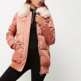 River Island pink padded oversized coat with faux fur trim. Womens winter coats | warm outerwear | autumn fashion