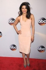 Priyanka Chopra wearing a Dion Lee fitted sleeveless dress and silver metallic pointed toe pumps