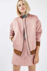 Topshop Pink Quilted Bomber Jacket. On trend jackets | casual outerwear trending now | autumn/winter 2016 fashion