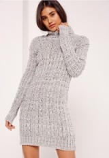 Missguided grey roll neck long sleeve knitted dress. Sweater dresses | knitted fashion | high neckline jumper dress | long sleeved turtleneck knitwear