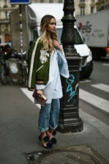 Green embroidered bomber jacket. Paris street style jackets | inspirational outfits