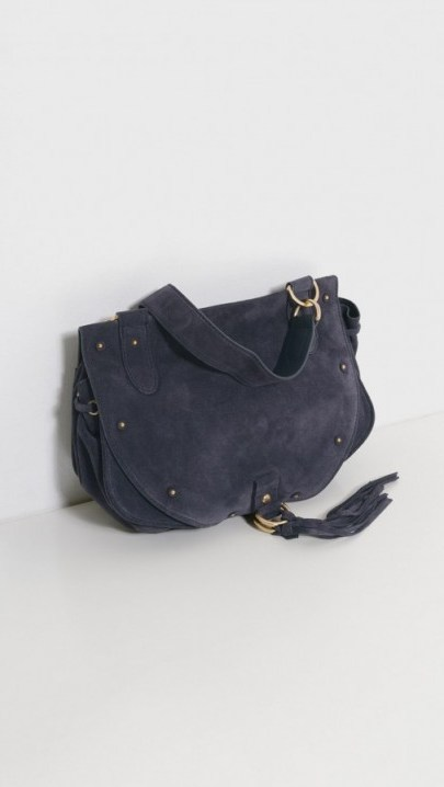 See by Chloé Large Navy Blue and Suede Shoulder Bag – stylish handbags – chic bags - flipped