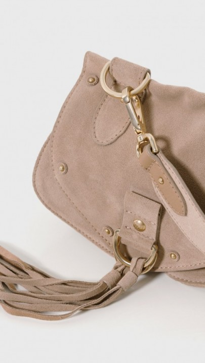 See by Chloé Small Suede Cross Body bag – luxe crossbody bags – designer handbags – stylish shoulder bags – tassels and studs – studded accessories