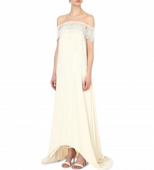 SELF-PORTRAIT Bardot off-the-shoulder wedding dress in off white. Bridal gowns – long wedding dresses