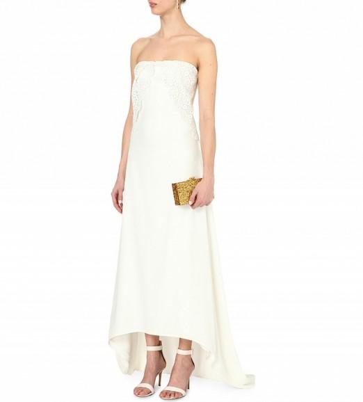 Self portrait isabella white lace and crepe wedding dress for Self portrait wedding dress