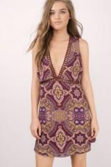 TOBI Sun Daze wine shift dress. Plunge front dresses | sleeveless | deep V neckline | plunging necklines | printed red dresses