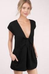 TOBI Tallulah black front tie romper. Plunge front playsuits | womens deep V neckline rompers | on trend fashion | plunging necklines