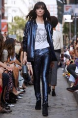 Rebecca Minkoff Tessa Bomber navy. Sequined jackets | casual luxe | designer outerwear | on trend fashion | blue sequins | trending now