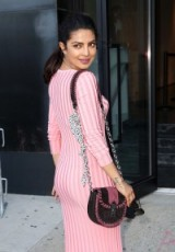 Priyanka Chopra carrying an Altuzarra Ghianda chain leather shoulder bag….a brown and black version of this bag is available at mytheresa.com