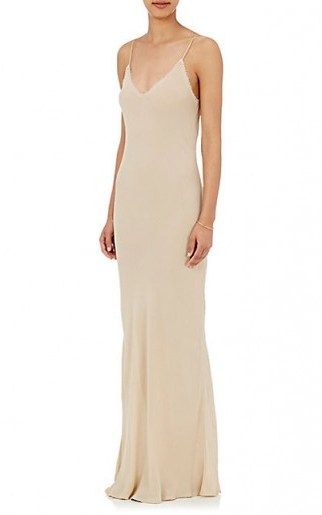 THE ROW Aca Beige Slip Dress. Long cami dresses   luxe designer occasion wear   luxury evening fashion   elegant style clothing   strappy silk gowns   thin straps   spaghetti strap   slinky - flipped