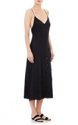 THE ROW Lamoca Midi-Dress in black. Luxury slip dresses   cami straps   spaghetti strap fashion   luxe style clothing   sequins   sequin embellished   strappy   chic LBD