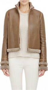 THE ROW Shearling-Lined Niedton Jacket in mushroom leather. Light brown jackets   casual luxe fashion   Women's Autumn/Winter outerwear   designer clothing   chic style   warm fur lined