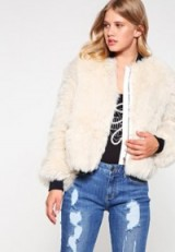 Tommy Hilfiger x GIGI HADID Bomber Jacket in white. Faux fur jackets | fluffy outerwear | on-trend fashion | Autumn/Winter casual style clothing