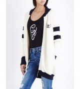 TOMMY HILFIGER Tommy x gigi wool-blend bomber jacket in snow white. Knitted jackets | casual fashion | Gigi Hadid collaborative clothing collection | knitwear