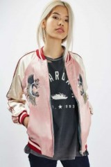 Topshop Two-in-One Reversible Bomber Jacket in pink/blue. On-trend clothing | fashion trending now | casual jackets | bird embroidered sateen | birds | embroidery